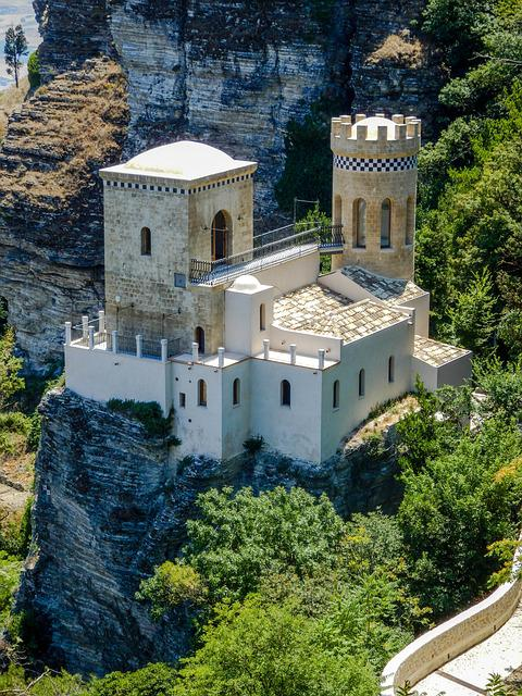 Monument, Landscape, Small Castle, Erice, Sicily, Italy