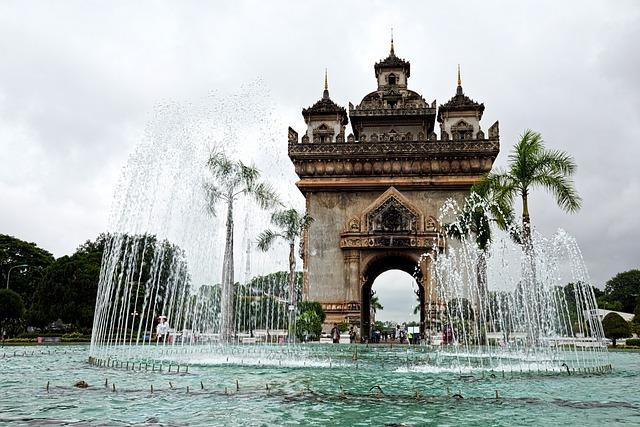 Laos, Vientiane, Monument, Fountain, Patuxai