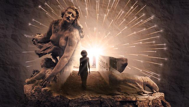 Fantasy, Light, Woman, Explosion, Monument, Statue
