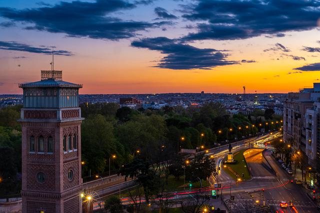 Madrid, Spain, City, Building, Heaven, Monument, Clouds