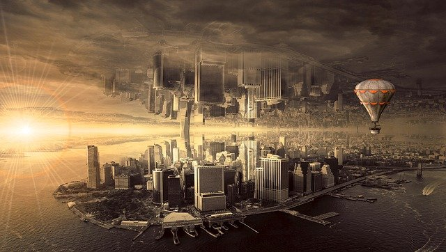Fantasy, City, Architecture, Mood, Skyline, Composing