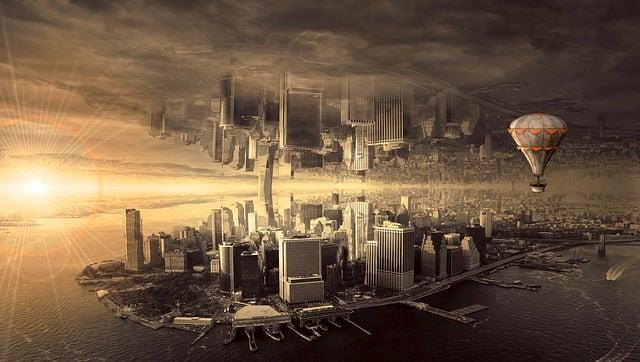Fantasy, City, Architecture, Mood, Skyline, Composing