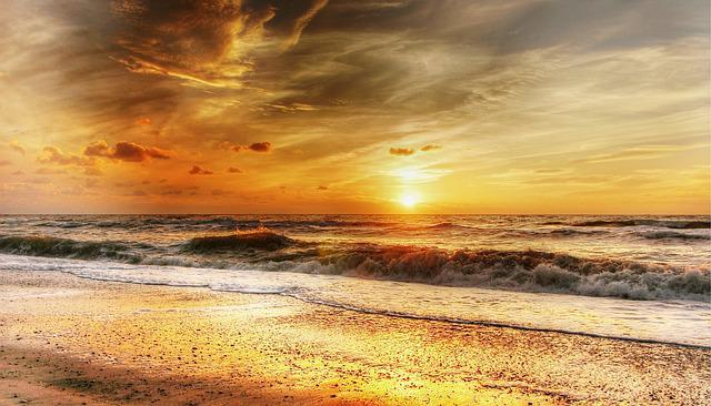Beach, Wave, Sunset, Summer, Sea, Nature, Water, Mood