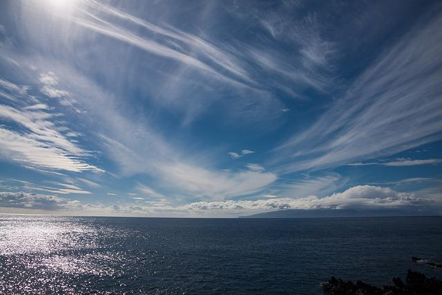 Sea, Sun, Clouds, Blue, White, Mirroring, Sky, Mood