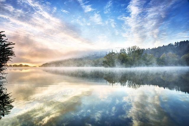 Lake, Fog, Water, Nature, Landscape, Mood, Sunrise