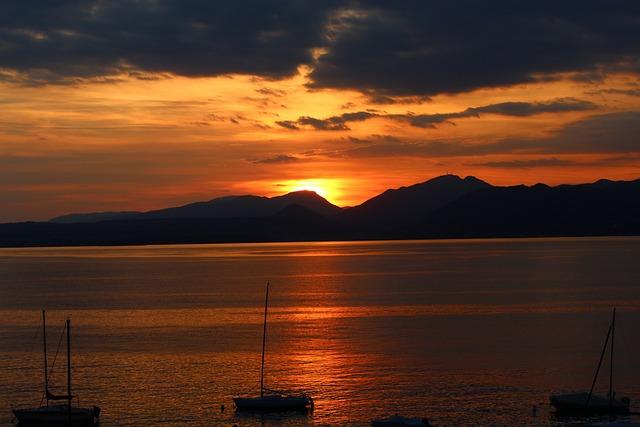 Garda, Sunset, Mountains, Mood, Dusk, Romance, Glow