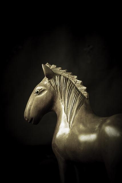 Horse, Troy, Wooden, Monochrome, Moody, Legend