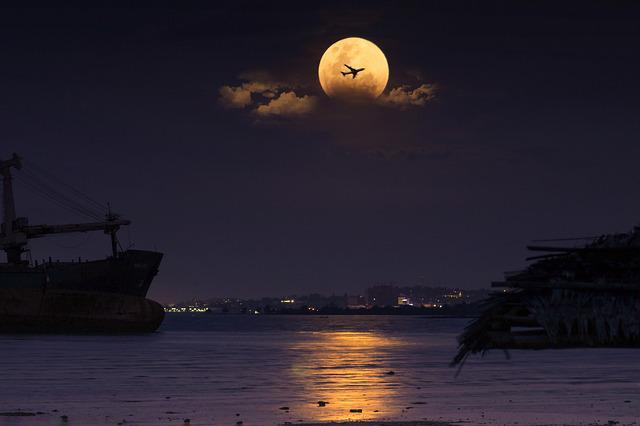 Water, Sea, Evening, Night, Silhouetted, Moon, Beach
