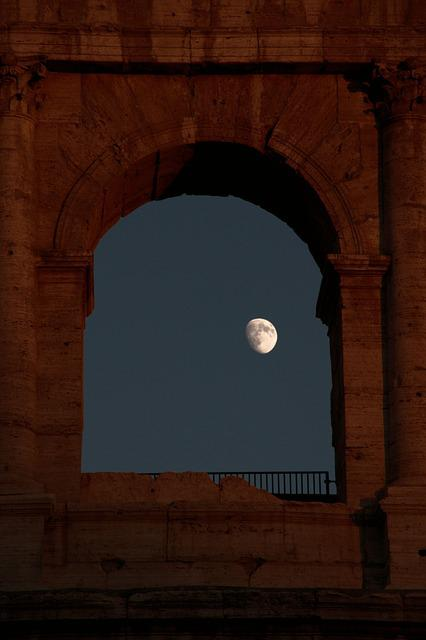 Rome, Colosseum, Moon, Window, Italy, Building