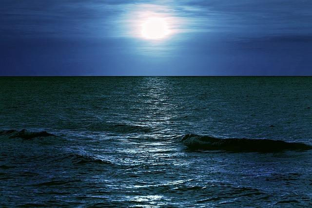 Sea, Night, Moon, Glow, Light, The Horizon, Dark