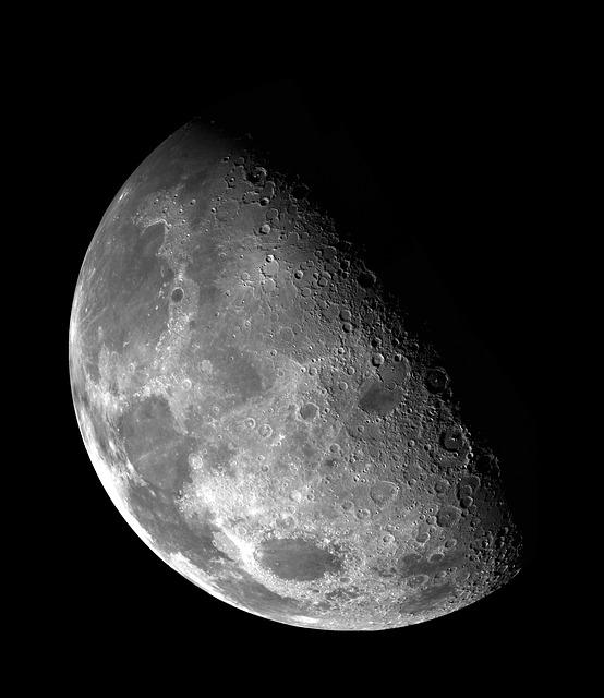 Moon, Half Moon, Darkness, Sky, Galileo Image