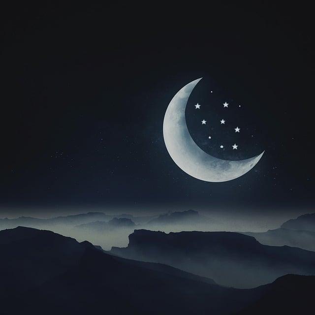 Moon, Star, Night, Dream, Landscape, Mountain Landscape