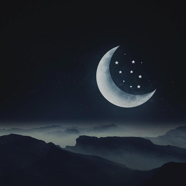 Moon, Star, Night, Dream, Landscape, Mountain Landscape