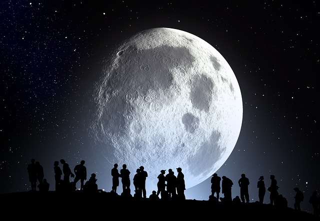 Kahl, Moon, Human, Group, Silhouette, Background, Night