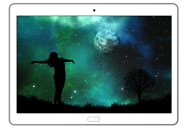 Tablet, Moon, Woman, Silhouette, Joy, Person, Human