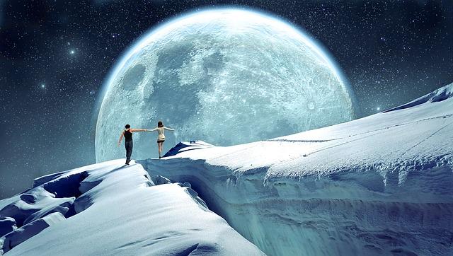 Moon, Walk, Mood, Sky, Sureal, Landscape, Star, Romance