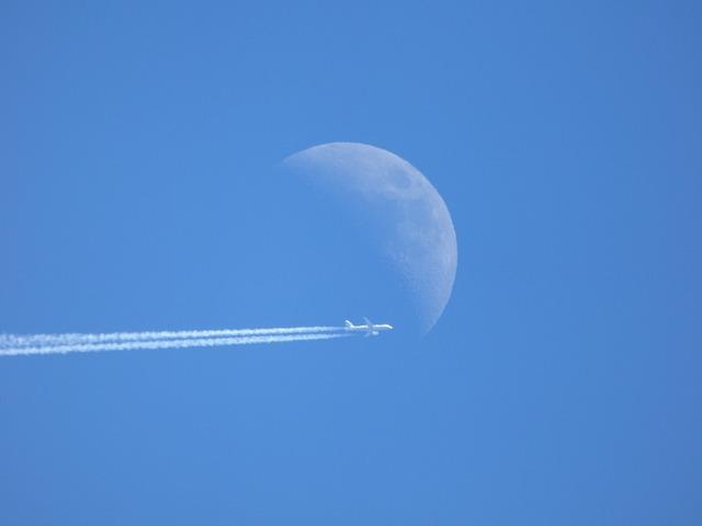 Moon, Plane, Sky