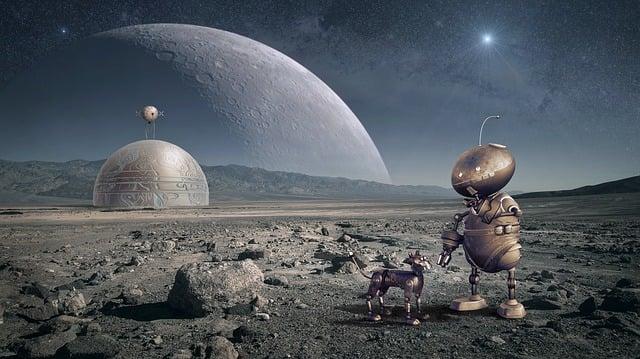 Robot, Planet, Moon, Space, Forward, Universe, Sci Fi