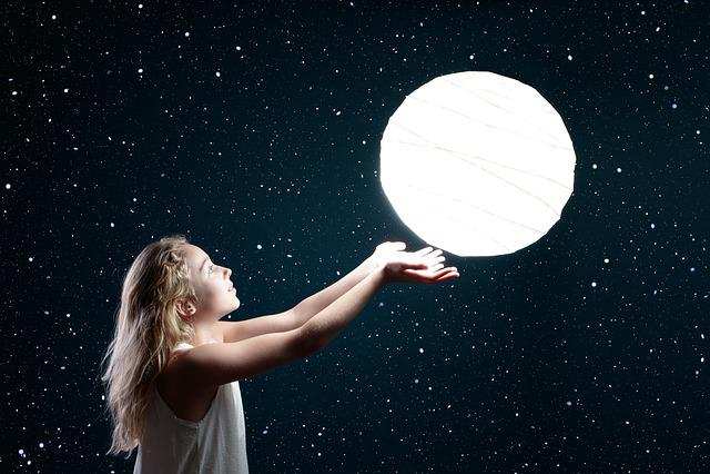 Moon, Space, Astronomy, Dark, Child, Sky, Girl, Star