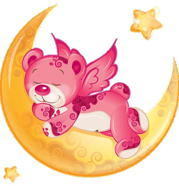 Teddy Bear, Moon, Mood, Star, The Bear, Fantasy, Sweet