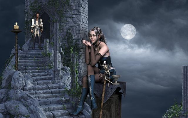 Woman, Sword, Warrior, Man, Moon, Fantasy, Mystic