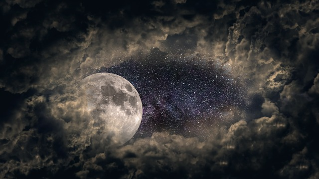 Clouds, Moon, Universe, Star, Night, Clouds Veil