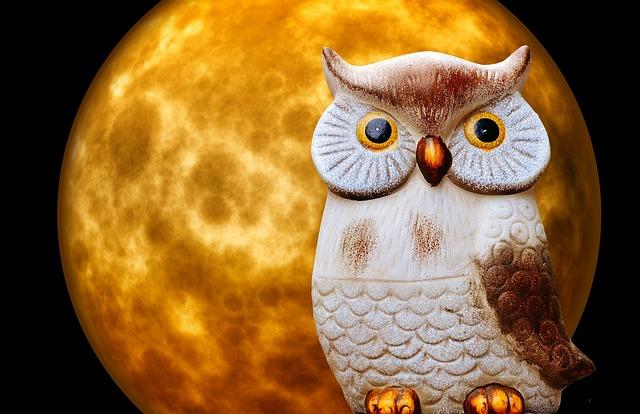 Owl, Moon, Moonlight, Night, Ceramic, Figure