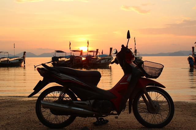 Beach, Motorcycle, Moped, Roller, Foreground, Sunset