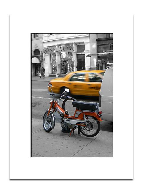 New York, Moped, Yellow Cab