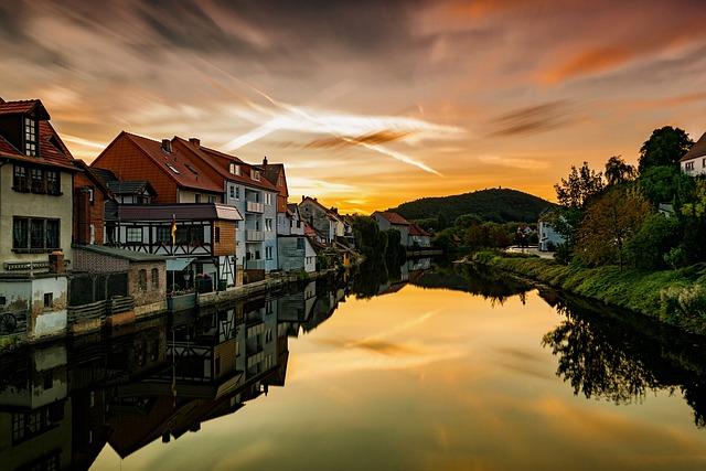 Sunrise, River, Eschwege, Hesse, Morgenstimmung, Mood