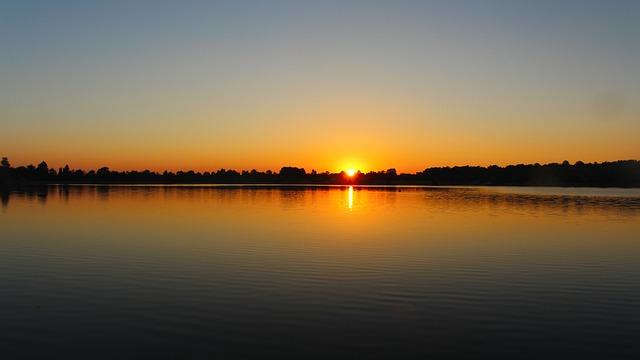 Sunrise, Lake, Morgenstimmung, Sun, Mirroring, Sky