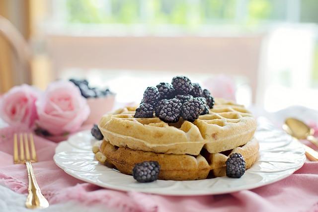 Waffles, Breakfast, Morning, Berries, Blackberries