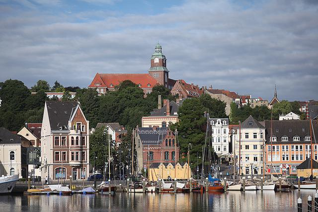 Summer, Port, Flensburg, West Bank, Morning, Water