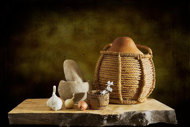Gourd, Basket, Mortar, Pestle, Garlic, Onion