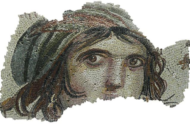 Mosaic, Face, Eyes, Portrait, Gypsy Girl, Archaeology