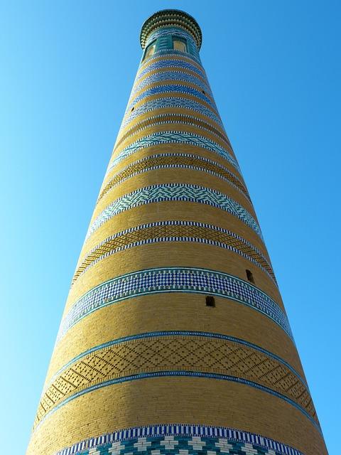 Khiva, Chodja Islam Minaret, High, Mosaic