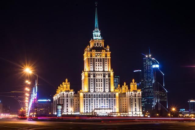 Hotel, Moscow, Seven Sisters, Night Lights, Night City