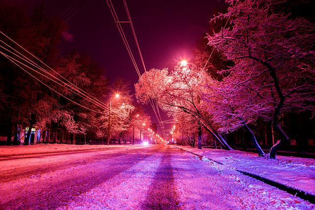 Snow, Street, Winter, Moscow, Trees, Night