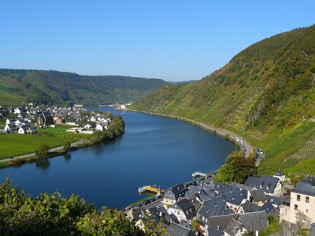 Mosel, River, Beilstein, Schieferdaecher, Bend
