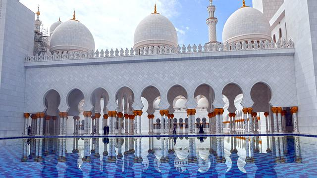 Reflection, Mosque, Architecture, Abu Dhabi