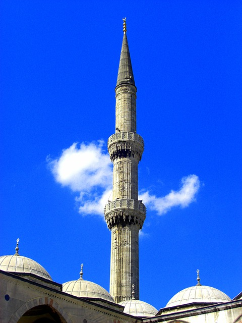Sky, Blue, Minaret, Mosque, Cloud