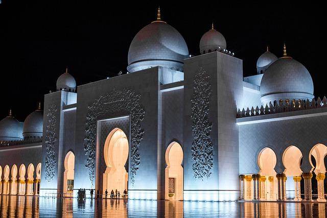 Uae, Abu Dhabi, Sheikh Zayed, Grand, Mosque, Night