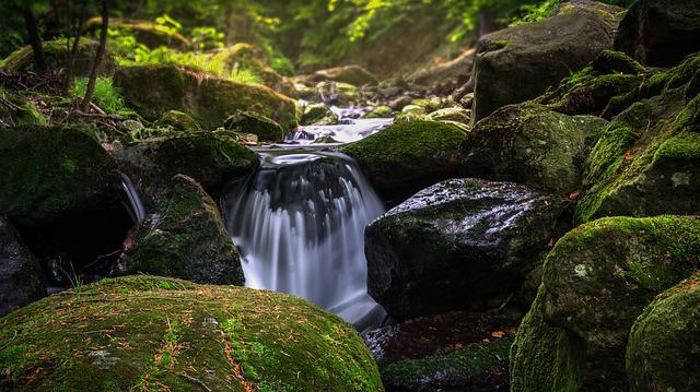 Waterfall, Waters, River, Moss, Nature