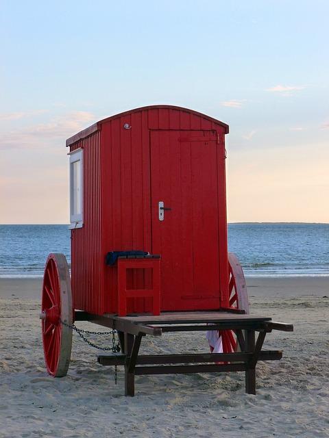 Badekarren, North Sea, Borkum, Island, Most Beach