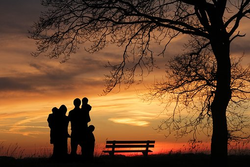 Family, Sunset, Woman, Children, Father, Mother