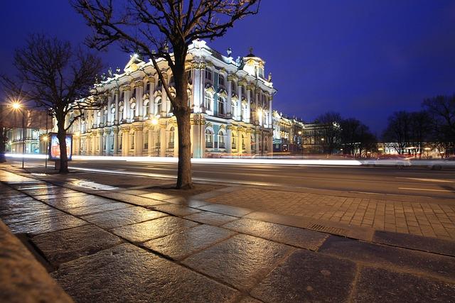 Night, City, Motion, St Petersburg Russia, Night View