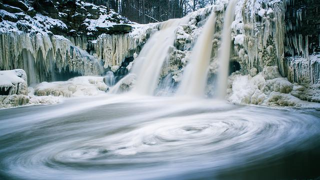 Cold, Frost, Motion, Nature, River, Rocks, Snow