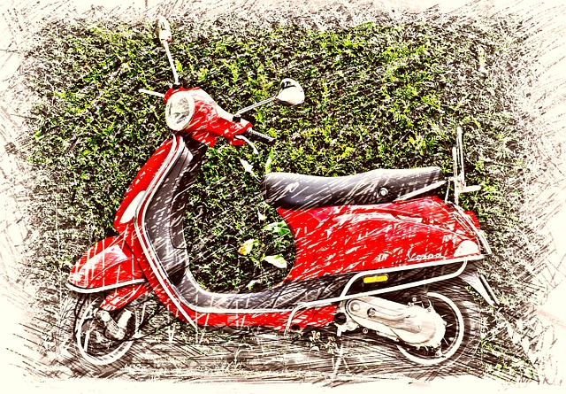 Vespa, Roller, Motor Scooter, Cult, Drawing, Colorful