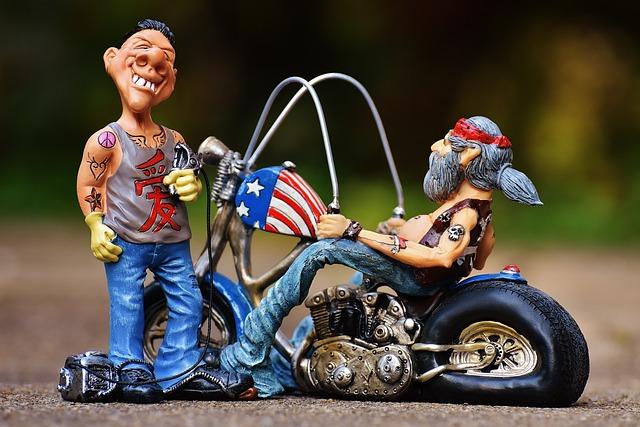 Tattoo Artist, Figures, Biker, Motorcycle, Funny, Man