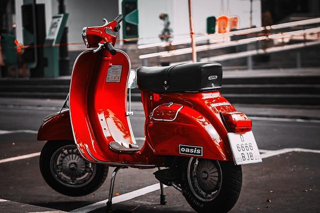 Vespa, Motorcycle, Motor, Street, Red, Background